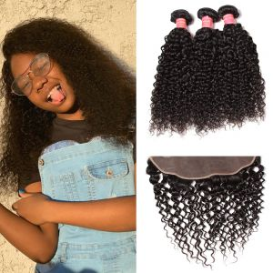 Donmily Best Virgin Jerry Curly Hair 3 Bundles With 13x4 Inch Transparent Lace Closure