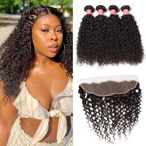 Donmily Best Virgin Jerry Curly Hair 4 Bundles With 13x4 Inch Transparent Lace Frontal