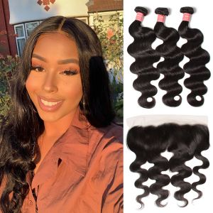 Donmily Best Virgin Body Wave Hair 3 Bundles With 13x6 Inch Transparent Lace Frontal