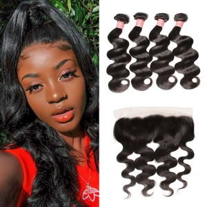 Donmily Best Virgin Body Wave Hair 4 Bundles with 13x6 Inch Transparent Lace Frontal