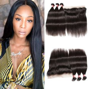 Donmily Best Virgin Straight Hair 3 Bundles with 13x6 Inch Transparent Lace Frontal
