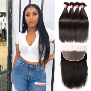 Donmily Best Virgin Straight Hair 4 Bundles With 13x6 Inch Transparent Lace Frontal
