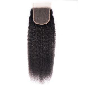 Donmily Kinky Straight Human Hair 4x4 Free Part Lace Closure