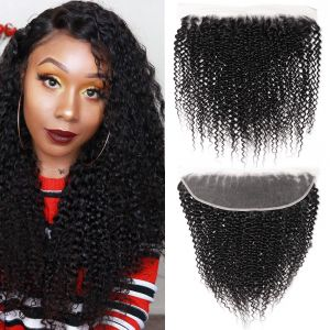 Donmily 13x4 Kinky Curly Lace Frontal 1PC Sew In Virgin Hair