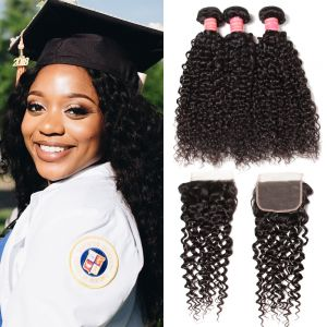 Donmily 3 Bundles Indian Curly Hair with Lace Closure (Three Part)