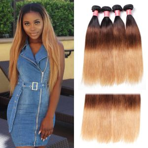 Donmily Three Tone Indian Ombre Straight Hair Weave 4 Bundles