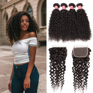 Donmily Malaysian Curly Hair 4 Bundles with 4x4 Lace Closure