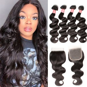 Donmily Brazilian  Body Wave Hair Weft 4 Bundles with Lace Closure