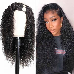 Donmily U Part Wigs 150% Density  Jerry Curly 100% Human Hair Glueless Left Side U Part Wigs For Black Women