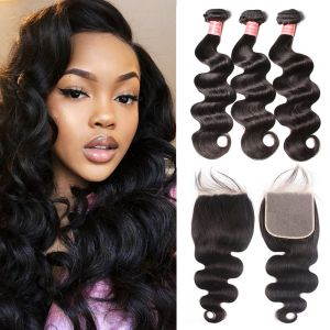 Donmily 3 Bundles Malaysian Body Wave with 6x6 Lace Closure