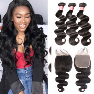 Donmily 4 Bundles Indian Body Wave with 6x6 Lace Closure