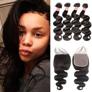 Donmily 4 Bundles Peruvian Body Wave Hair with 6x6 Lace Closure
