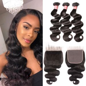 Donmily   New Arrived 3 Bundles Malaysian  Body Wave Hair With 7*7 Lace Closure