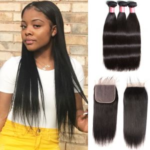 Donmily Malaysian Straight 3 Bundles with  7x7 Lace Closure