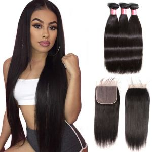 Donmily Indian Straight 3 Bundles with  7x7 Lace Closure Human Hair