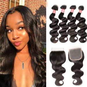 Donmily Indian Body Wave Virgin Hair 4 bundles with 4x4 Free Part Lace Closure
