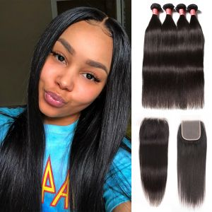 Donmily Peruvian Straight Virgin Hair 4 Bundles with 4x4 Free Part Lace Closure