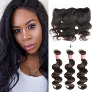 Donmily Malaysian Body Wave Hair 3 Bundles with 13x4 Lace Closure
