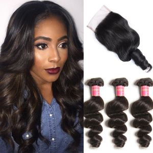 Donmily Indian Loose Wave 3 Bundles with Lace Closure