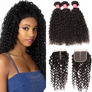 Donmily 3 Bundles Curly Hair with Lace Closure(Middle Part)