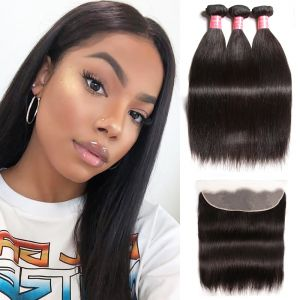 Donmily Malaysian Straight Hair 3 Bundles with Lace Frontal