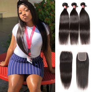 Donmily Malaysian Straight Hair 3 Bundles with 4x4 Lace Closure