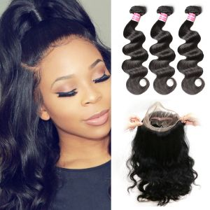 Donmily 3 Bundles Body Wave with 360 Lace Frontal Closure
