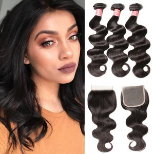 Donmily Peruvian Body Wave 3 Bundles with 4x4 Lace Closure