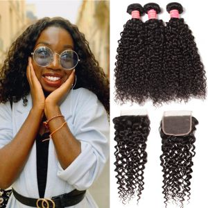 Donmily Indian Jerry Curly 3 Bundles Human Hair with 4x4 Lace Closure