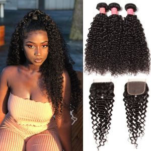 Donmily Brazilian Jerry Curly 3 Bundles Human Hair with 4x4 Lace Closure