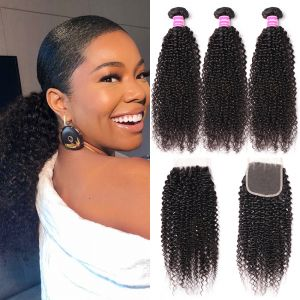 Donmily Malaysian Kinky Curly Hair 3 Bundles with 4x4 Lace Closure Free Part