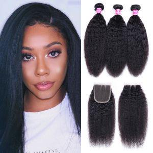 Donmily Kinky Straight Virgin Hair 3 bundles with 4x4 Free Part Lace Closure