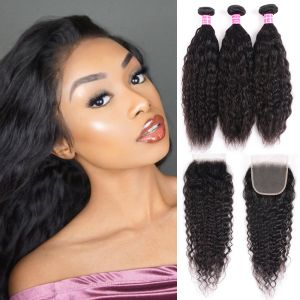 Donmily Super Wave Virgin Hair 3 bundles with 4x4 Free Part Lace Closure