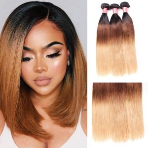 Donmily Brazilian 3Pcs/Lot Three Tone Ombre Straight Hair