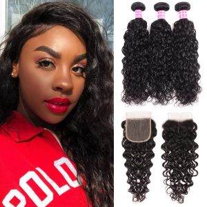 Donmily Indian Water Wave 3 Bundles with 4x4  Lace Closure