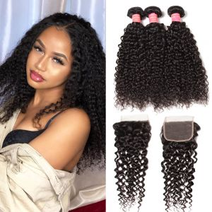 Donmily Best Virgin Jerry Curly Hair 3 Bundles With 4x4 Inch Transparent Lace Closure