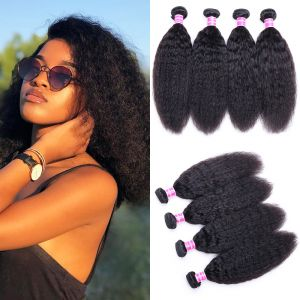 Donmily Kinky Straight Hair Weave 4 Bundles Virgin Hair 8-26 Inch