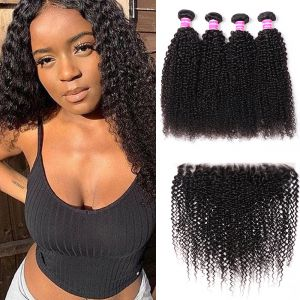 Donmily Classic Virgin Kinky Curly Hair 4 Bundles with 13x4 Inch Lace Frontal