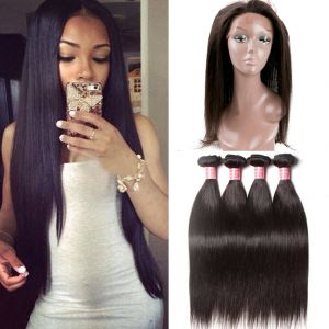 Donmily Straight 4 Bundles with 360 Lace Frontal Remy Hair