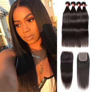 Donmily Indian Straight Virgin Hair 4 Bundles with 4x4 Free Part Lace Closure