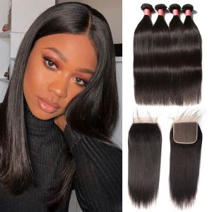 Donmily 4 Bundles Brazilian Straight Hair with 6x6 Lace Closure