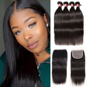 Donmily Straight Hair 4 Bundles with Free Part 5x5 Transparent Lace Closure