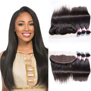 Donmily Indian Straight Hair 3 Bundles with Lace Frontal