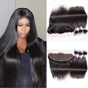 Donmily Brazilian Straight Hair 3 Bundles with 13x 4 Lace Frontal