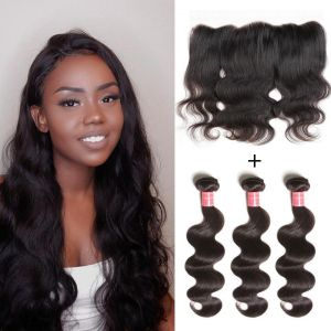 Donmily Brazilian Body Wave 3 Bundles with Lace Frontal 13x4 Closure