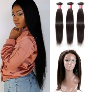 Donmily 3 Bundles Straight Human Hair With 360 Frontal Closure