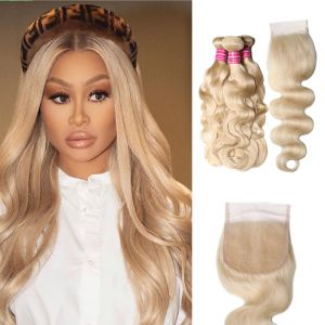 Donmily 3 Bundles 613 Blonde Body Wave Human Hair with Lace Closure