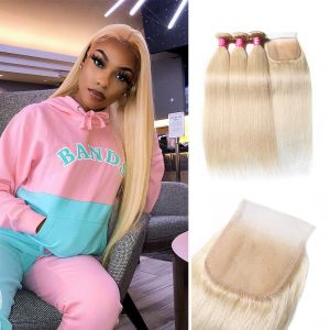 Donmily 613 Blonde Straight Human Hair Weave 3 Bundles With Lace Closure
