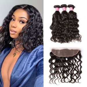 Donmily Natural Wave 3 Bundles with 13x4 Lace Frontal