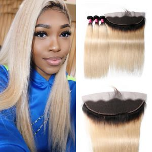 Donmily Straight 1B/613 Blond Ombre Hair 3 Bundles with Lace Frontal